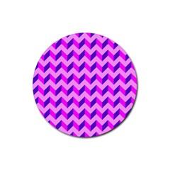 Modern Retro Chevron Patchwork Pattern Drink Coaster (round)