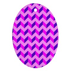 Modern Retro Chevron Patchwork Pattern Oval Ornament (two Sides)