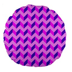 Modern Retro Chevron Patchwork Pattern 18  Premium Round Cushion