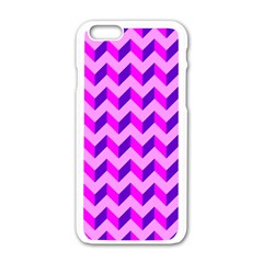 Modern Retro Chevron Patchwork Pattern Apple iPhone 6 White Enamel Case