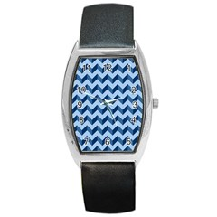 Tiffany Blue Modern Retro Chevron Patchwork Pattern Tonneau Leather Watch