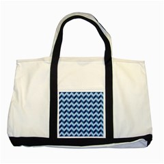 Tiffany Blue Modern Retro Chevron Patchwork Pattern Two Toned Tote Bag
