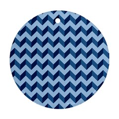 Tiffany Blue Modern Retro Chevron Patchwork Pattern Round Ornament (two Sides)