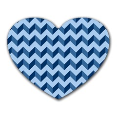 Tiffany Blue Modern Retro Chevron Patchwork Pattern Mouse Pad (heart)