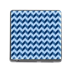 Tiffany Blue Modern Retro Chevron Patchwork Pattern Memory Card Reader With Storage (square)