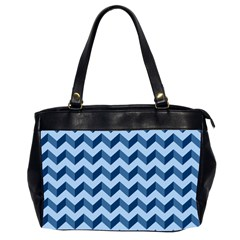 Tiffany Blue Modern Retro Chevron Patchwork Pattern Oversize Office Handbag (two Sides)