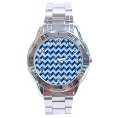 Tiffany Blue Modern Retro Chevron Patchwork Pattern Stainless Steel Watch