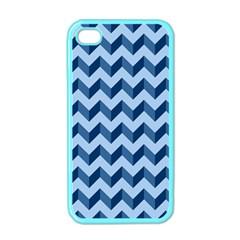 Tiffany Blue Modern Retro Chevron Patchwork Pattern Apple Iphone 4 Case (color)