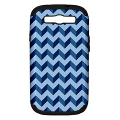 Tiffany Blue Modern Retro Chevron Patchwork Pattern Samsung Galaxy S Iii Hardshell Case (pc+silicone)