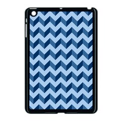 Tiffany Blue Modern Retro Chevron Patchwork Pattern Apple Ipad Mini Case (black)