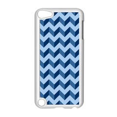 Tiffany Blue Modern Retro Chevron Patchwork Pattern Apple Ipod Touch 5 Case (white)