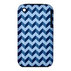 Tiffany Blue Modern Retro Chevron Patchwork Pattern Apple iPhone 3G/3GS Hardshell Case (PC+Silicone)