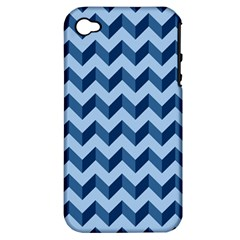 Tiffany Blue Modern Retro Chevron Patchwork Pattern Apple Iphone 4/4s Hardshell Case (pc+silicone)