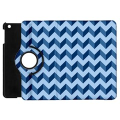 Tiffany Blue Modern Retro Chevron Patchwork Pattern Apple Ipad Mini Flip 360 Case