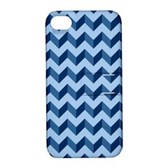 Tiffany Blue Modern Retro Chevron Patchwork Pattern Apple Iphone 4/4s Hardshell Case With Stand