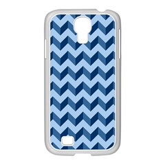 Tiffany Blue Modern Retro Chevron Patchwork Pattern Samsung Galaxy S4 I9500/ I9505 Case (white)