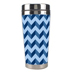Tiffany Blue Modern Retro Chevron Patchwork Pattern Stainless Steel Travel Tumbler