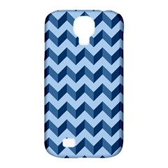 Tiffany Blue Modern Retro Chevron Patchwork Pattern Samsung Galaxy S4 Classic Hardshell Case (pc+silicone)