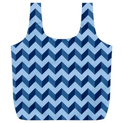 Tiffany Blue Modern Retro Chevron Patchwork Pattern Reusable Bag (XL)