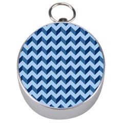 Tiffany Blue Modern Retro Chevron Patchwork Pattern Silver Compass