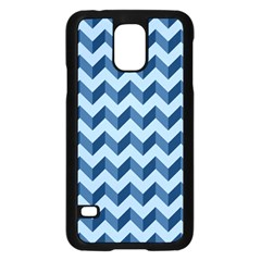Tiffany Blue Modern Retro Chevron Patchwork Pattern Samsung Galaxy S5 Case (Black)