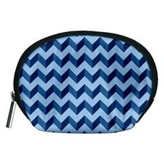 Tiffany Blue Modern Retro Chevron Patchwork Pattern Accessory Pouch (Medium)