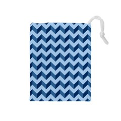 Tiffany Blue Modern Retro Chevron Patchwork Pattern Drawstring Pouch (Medium)
