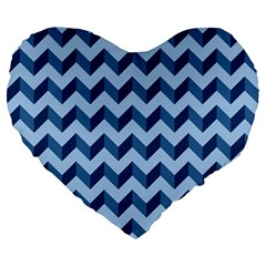 Tiffany Blue Modern Retro Chevron Patchwork Pattern 19  Premium Flano Heart Shape Cushion