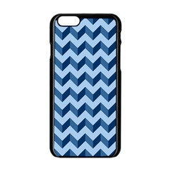 Tiffany Blue Modern Retro Chevron Patchwork Pattern Apple Iphone 6 Black Enamel Case
