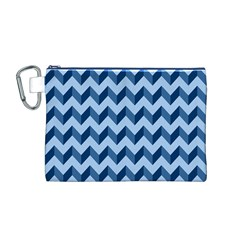 Tiffany Blue Modern Retro Chevron Patchwork Pattern Canvas Cosmetic Bag (Medium)