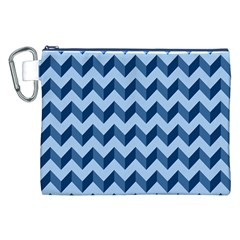 Tiffany Blue Modern Retro Chevron Patchwork Pattern Canvas Cosmetic Bag (XXL)