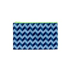 Tiffany Blue Modern Retro Chevron Patchwork Pattern Cosmetic Bag (XS)