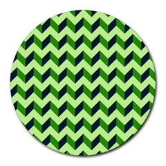 Green Modern Retro Chevron Patchwork Pattern 8  Mouse Pad (round)