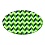 Green Modern Retro Chevron Patchwork Pattern Magnet (Oval) Front