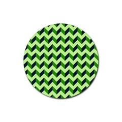 Green Modern Retro Chevron Patchwork Pattern Drink Coaster (round)
