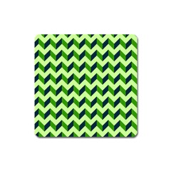 Green Modern Retro Chevron Patchwork Pattern Magnet (square)