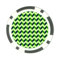 Green Modern Retro Chevron Patchwork Pattern Poker Chip