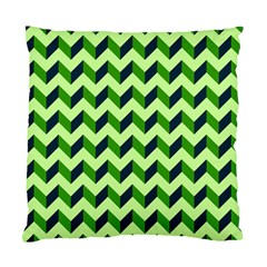 Green Modern Retro Chevron Patchwork Pattern Cushion Case (two Sided)