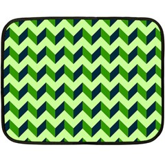 Green Modern Retro Chevron Patchwork Pattern Mini Fleece Blanket (two Sided)