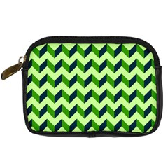 Green Modern Retro Chevron Patchwork Pattern Digital Camera Leather Case