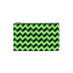 Green Modern Retro Chevron Patchwork Pattern Cosmetic Bag (small)