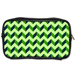 Green Modern Retro Chevron Patchwork Pattern Travel Toiletry Bag (two Sides)