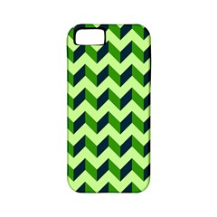 Green Modern Retro Chevron Patchwork Pattern Apple Iphone 5 Classic Hardshell Case (pc+silicone)