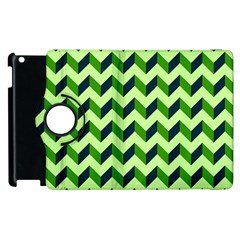 Green Modern Retro Chevron Patchwork Pattern Apple iPad 3/4 Flip 360 Case