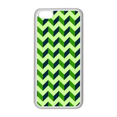 Green Modern Retro Chevron Patchwork Pattern Apple iPhone 5C Seamless Case (White)