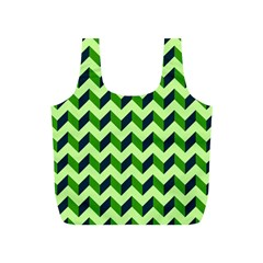 Green Modern Retro Chevron Patchwork Pattern Reusable Bag (S)