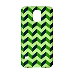 Green Modern Retro Chevron Patchwork Pattern Samsung Galaxy S5 Hardshell Case