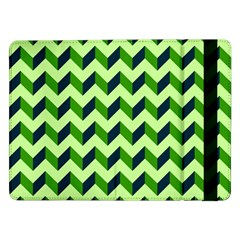 Green Modern Retro Chevron Patchwork Pattern Samsung Galaxy Tab Pro 12.2  Flip Case