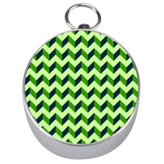 Green Modern Retro Chevron Patchwork Pattern Silver Compass