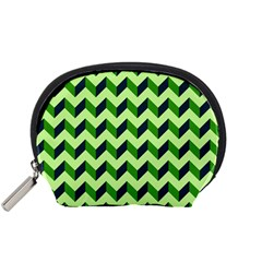 Green Modern Retro Chevron Patchwork Pattern Accessory Pouch (Small)